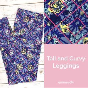 NWOT TC Lularoe Leggings blue pink floral pants